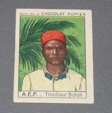 CHROMO CHOCOLAT PUPIER AFRIQUE 1950 N°97 TIRAILLEUR BALALI CONGO A.E.F. COLONIES