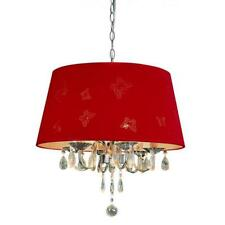 """NEW Butterfly Cutouts 20"""" Wide Fabric Pendant Red Trans Globe Lighting"""