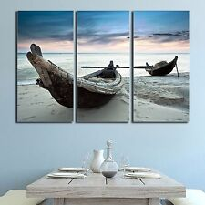 Stretched Framed canvas prints Split print seascape cloudy boat time-lapse wall
