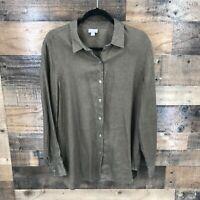 J Jill Women's Brown 100% Linen Long Sleeve Round Hem Button Up Shirt Size Med