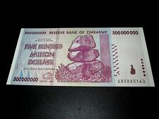 ZIMBABWE 500 MILLION DOLLARS 2008 UNC AB-series P82 * REGISTERED SHIPPING HERE