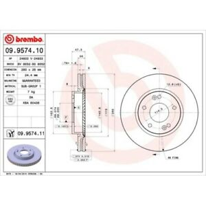 2 Disque de frein BREMBO 09.9574.11 COATED DISC LINE convient à HYUNDAI KIA