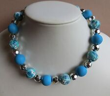 aqua flower print poly clay, wood & acrylic BIG beaded necklace N445