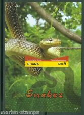 GHANA FIRST TIME OFFERED IMPERFORATED  SNAKES SOUVENIR II SHEET MINT NH