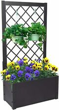Outdoor Raised Garden Bed Free Standing Elevated Planter w/ Trellis Growing
