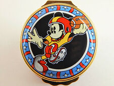 Halcyon Days Enamel over copper hinged lid Mickey Mouse Playing Football, Disney