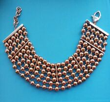 Fallon NYC Lux Beaded Rose Gold Collar Bib Necklace 6 Strands Signed