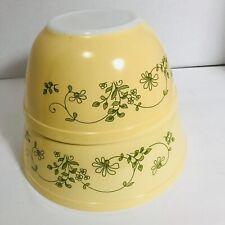 Vintage Pyrex Shenandoah Mixing Bowls Floral Yellow Green Round Dishes 402 403