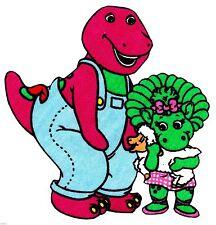 "5.5""  Barney on a farm animal baby bop bj fabric applique iron on character"