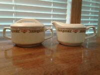 Temper-Ware By Lenox Coral Blossom Creamer And Sugar Bowl With Lid