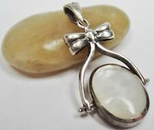 ANTIQUE STERLING LADIES DOUBLE SIDED MOP GLASS SWIVEL PENDANT/CHARM/FOB SIGNED