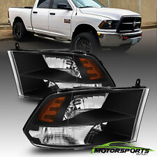 [Anti-Fog]For 2009-2018 Dodge Ram 1500/2500/3500 Black Quad Headlights LeftRight