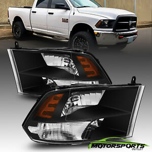 For 2009-2018 Dodge Ram 1500/2500/3500 Polished Black Quad Headlights LeftRight
