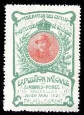 Belgium Poster Stamps - 1921 Philatelic Expo - Albert I - Art Nouveau - Green