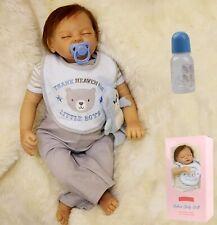55CM Kleinkind Vinyl Silikon Reborn Baby Doll Neugeborene Schlafen Junge Puppe