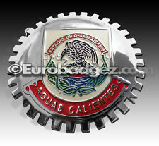 1- NEW Chrome Front Grill Badge Mexican Flag MEXICO MEDALLION AGUAS CALIENTES