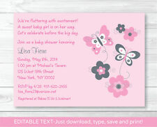 Pink Gray Butterfly Flowers Printable Baby Shower Invitation Editable PDF
