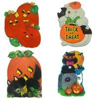 Vtg 1970s Halloween Die-Cut Decorations Window Art Pumpkins Ghost Cat Set of 6