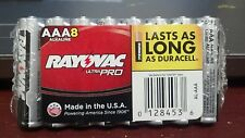 BATTERIES, ALKALINE, RAYOVAC, AAA, (8), ULTRA PRO, MADE IN THE USA, LASTS LONG