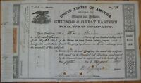 Illinois, Indiana, Chicago Great Eastern Railway 1867 Railroad Stock Certificate