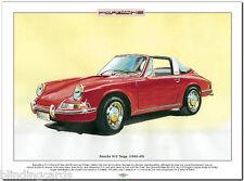 PORSCHE 912 Targa (1965-69) Lámina Artística - A3 Tamaño Película Coche
