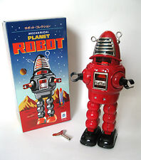 Mechanical Planet Space Robot Tin Windup Toy  Red Robot Retro Vintage Sparking