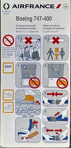 Air France Boing 747-400 Safety Card 2014