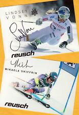 Lindsey vonn-Mikaela shiffrin - 2 ak imágenes (2) - Print copies + ak firmado