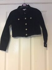 Blue Zoo @ Debenhams Girls Crop Black Corduroy Frayed Jacket Age 10 With Stretch