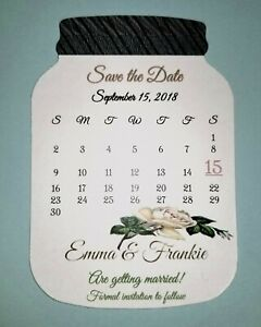 50 Mason Jar Country Chic Rustic Wedding Shower Party Save The Date White Cards