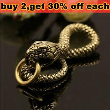 Solid Brass Snake Cobra Keychains Key Ring Holder Hook DIY Gold Belt Clip Buckle