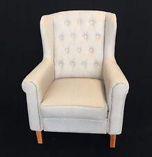 Armsessel in Weissgrau, Ohrensessel klassisches Design, Sessel mit Leinen-Bezug