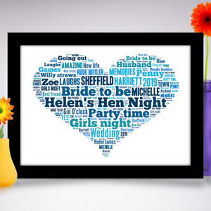 Hen Night Party Gift Personalised Word art print Wedding keepsake YOUR WORDS A4