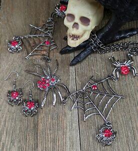 Spider Spiderweb Red Rhinestone Necklace Earring Set Halloween Gothic Vampire