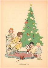 CHILDREN PLAY AROUND THE CHRISTMAS TREE, vintage print authentic 1924