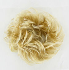 hair bun scrunchie ponytail very light golden blond hair wick 17/24bt613