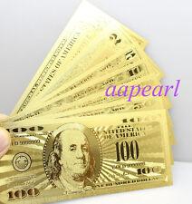 7pcs golden Crafts Banknotes US $ 1 2 5 10 20 50 100 dollar GIFT paper money