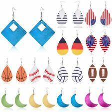Women Boho Teardrop Genuine Leather Earrings Stud Hook Drop Dangle Charm Jewelry