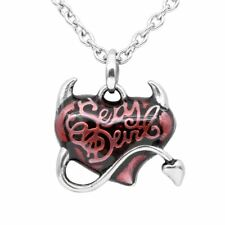 Red Heart Necklace with Horn Petite Sexy Devil Pendant Women Jewelry By Controse
