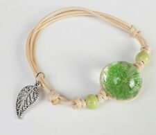 Armband Blume Blüte Glas Keramik Perlen Blatt floral pastell hellgrün grün natur