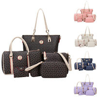 6X Womens Designer Handbag Set PU Leather Shoulder Messenger Tote Purse Lady Bag