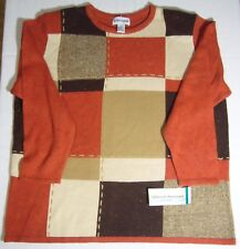 Alfred Dunner Women's 2X pullover Sweater Steeple Chase Red-orange brown+ New