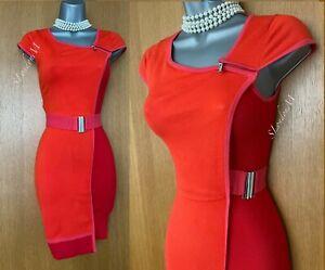KAREN MILLEN KM 1 Light Red Pink Knitted Stretch Pencil Casual Formal Dress 8/10