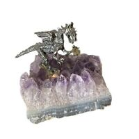 Vintage Miniature Pewter Dragon on Natural Amethyst Quartz Crystal Rock Figurin