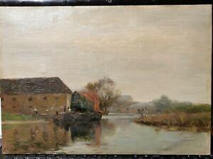 tableau peinture huile sur toile paysage batelier XIX éme signée