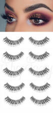 5 SET FALSE EYELASHES EYE LASH WISPY DEMI LONG WISPIES CASE NATURAL CROSS THICK