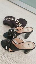 FENDI high heel. Slide sandals.Black patent leather Size 40