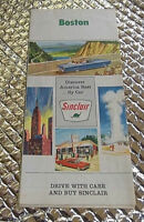 "Vintage 1950""S Sinclair Boston Mass.  State Travel Highway Map"