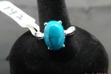 NEW MENS WOMENS OVAL TURQUOISE RING SILVER PLATED SIZE 10 [142]