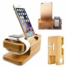 Bamboo Charging Dock Station Charger Holder Stand For Apple Watch iWatch iPhone